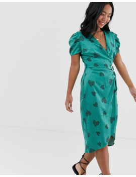 River Island Petite Midi Dress With Puff Sleeves In Green Heart Print by River Island
