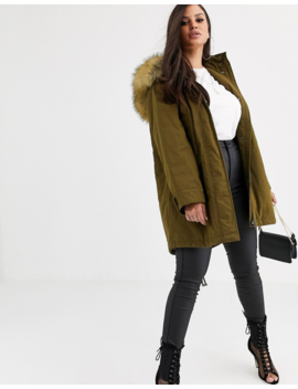 Asos Design Petite Ultimate Parka In Khaki by Asos Design