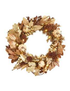 "Led Pre Lit 26"" Cream Fall Faux Gourds Wreath by Pier1 Imports"