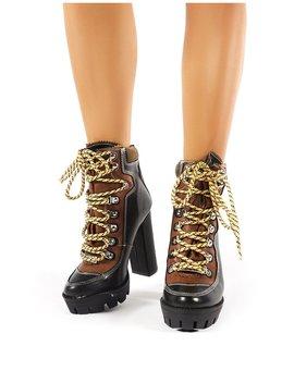 Dakota Black Lace Up Heeled Hiker Boots by Public Desire