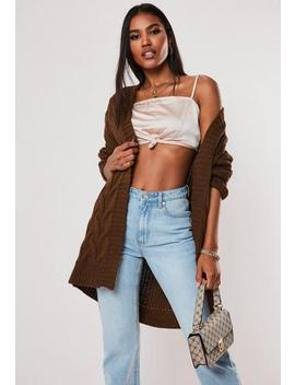 Chocolate Cable Knitted Long Cardigan by Missguided