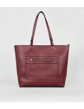 Burgundy Leather Look Tote Bag by New Look