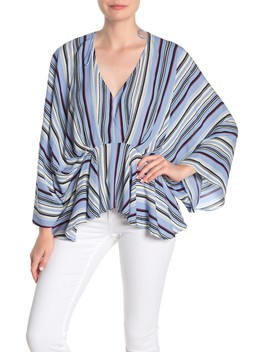 Striped Asymmetrical Blouse by Blu Pepper