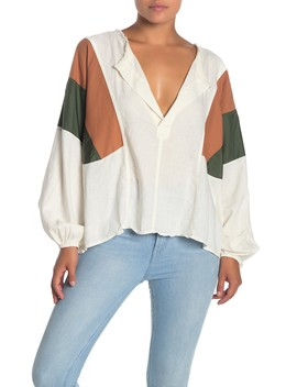 Beating Hearts Colorblock Linen Blend Top by Free People