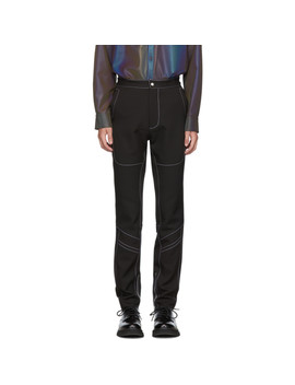 Black Contrast Stitch Trousers by Daniel W. Fletcher