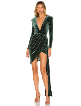 X Revolve Geneva Mini Dress In Emerald Green by Michael Costello