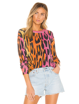 Printed Ombre Leopard Crew In Warm Combo by Autumn Cashmere