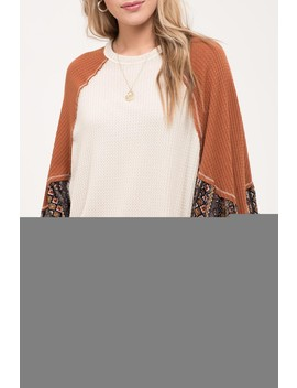 Contrast Long Sleeve High/Low Top by Blu Pepper