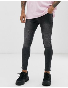 Asos Design Spray On Biker Jeans In Power Stretch In Washed Black by Asos Design