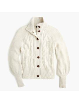 Balloon Sleeve Cable Knit Cardigan by J.Crew