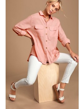 Mary Louise Blush Pink Long Sleeve Button Up Top by Lulus
