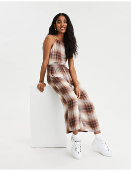 Ae Plaid High Neck Jumpsuit by American Eagle Outfitters