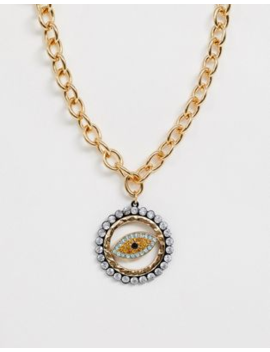 Asos Design Necklace With Crystal Eye Pendant In Gold Tone by Asos Design