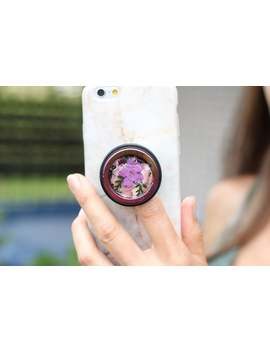Summer Flowers &Amp; Ferns Phone Grip In Hematite Ring  Natural Summer Flowers Popgrip Popholder Hematite With Natural Flowers Purple Green by Etsy