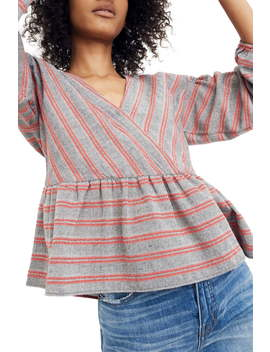 Stripe Bubble Sleeve Peplum Top by Madewell