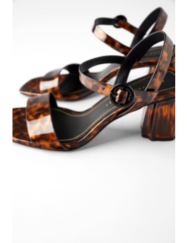 Tortoiseshell Wide Heeled Sandals Shoestrf Shoes & Bags by Zara