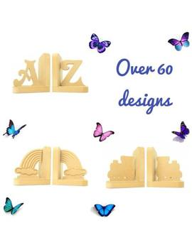 Wooden Bookends Nursery Boys Girls Childrens Kids Book Ends Bedroom Decoration by Ebay Seller