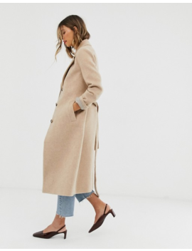 & Other Stories Oversized Tie Waist Coat In Beige by & Other Stories
