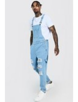 Slim Fit Denim Dungarees With Distressing by Boohoo Man