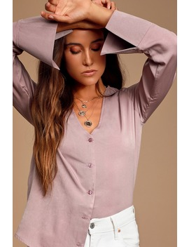 Adilene Dusty Purple Long Sleeve Button Up Top by Lulus