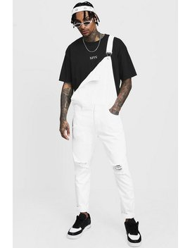 Slim Fit Distressed Dungarees by Boohoo Man
