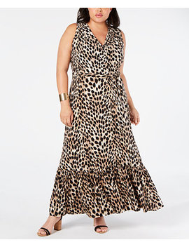 I.N.C. Plus Size Leopard Print Faux Wrap Maxi Dress, Created For Macy's by General