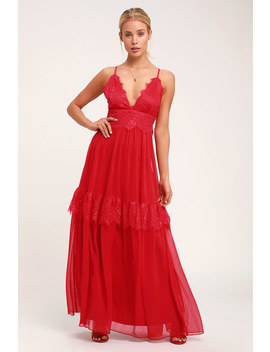 Dream About Me Red Lace Maxi Dress by Lulus