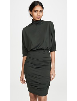Ruched Turtleneck Dolman Dress by Susana Monaco
