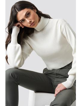 Balloon Sleeve High Neck Short Sweater Vit by Na Kd