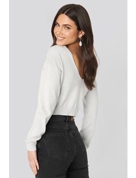 Back V Neck Cropped Sweater Grå by Na Kd