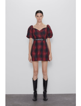 Belted Plaid Dress View All Dresses Woman by Zara