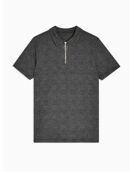 Gray Prince Of Wales Check Polo by Topman
