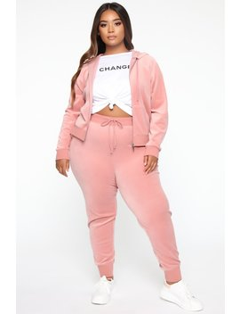 The Original Trendsetter Velour Set   Mauve by Fashion Nova