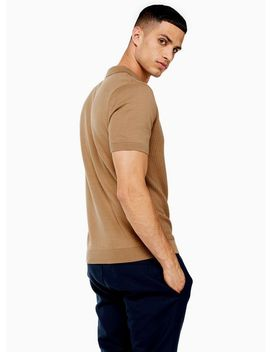 Camel Short Sleeve Zip Polo by Topman