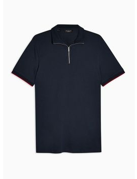 Selected Homme Navy Zip Chip Organic Cotton Polo Shirt by Topman