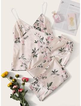 Floral Print Satin Cami Pj Set by Romwe