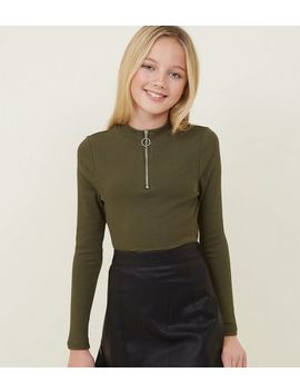 Girls Khaki Ribbed Half Zip Long Sleeve Top by New Look
