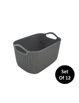 Homz Small Decorative Storage Rattan Bin, Grey, Set Of 12 by Homz