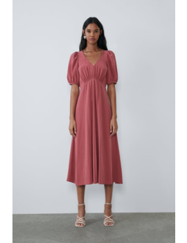 Dress With Voluminous Sleeves Midi Dresses Woman by Zara