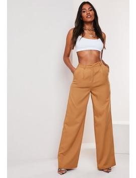 camel-co-ord-masculine-wide-leg-trousers by missguided