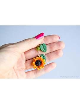 Sunflower Phone Dust Plug, Polymer Clay Charm, Flower Jewelry, Large Sunflower Charm, Phone Decoration, Summer Charm, Headphone Jack Charm by Etsy