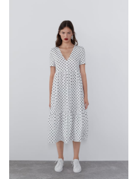 Flowy Printed Dress Midi Dresses Woman by Zara