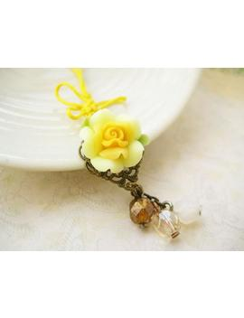 Last One Phone/ Dust Plug Charm With Yellow Rose And Chinese Knot Butterfly   Sunshine by Etsy