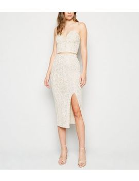 Cream Sequin Fishnet Split Midi Skirt by New Look
