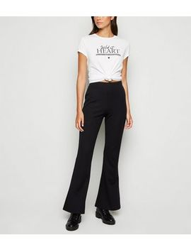 Black Scuba Crepe Flared Trousers by New Look