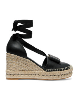 Geranio Bow Embellished Textured Leather Wedge Espadrilles by Salvatore Ferragamo