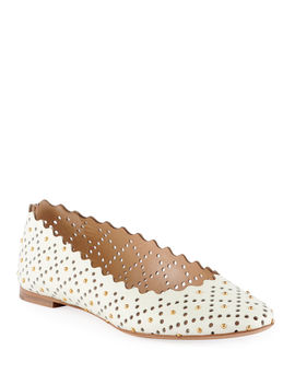 Perforated Leather Ballet Flat With Studs by Chloe