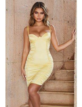 Midsummer Dream Satin Knee Length Dress In Lemon by Oh Polly
