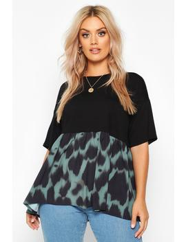 Plus Contrast Woven Leopard Smock Top by Boohoo