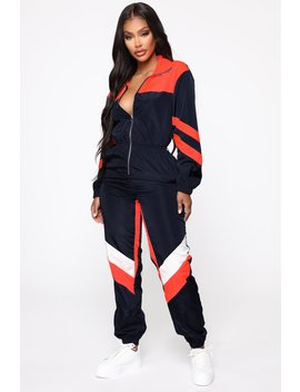 No Hesitation Windbreaker Jumpsuit   Navy/Combo by Fashion Nova
